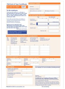 HMRC Approved Single Sheet P60 (Portrait)